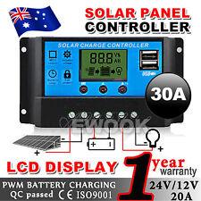 30A PWM Solar Panel Charge Regulator Controller LCD Display 12V/24V DC 30AMP