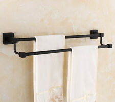 "Double Towel Bar 19"" Wall Mounted Stainless steel Towel Rail Rack Holder Black"