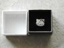 Hello Kitty White & Purple Rhinestone Ring - Silver Tone with Box