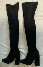 New Look black stretch faux suede smart casual thigh high high heel boots size 4