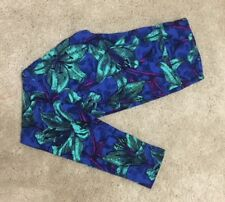 LuLaRoe Leggings ~ TC ~ BLUE with TEAL TROPICAL LILIES ~ Flowers! *UNICORN*