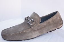 New Salvatore Ferragamo Parigi Men's Shoes Size 10 Loafers Drivers Fang Suede