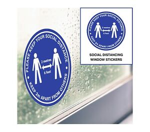 Social Distancing Stickers - Blue 21cm - Window, Door & Wall Decals Shop Office
