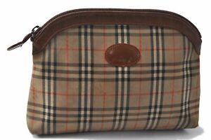 Authentic Burberrys Nova Check Pattern Pouch Canvas Leather Beige Brown B2575