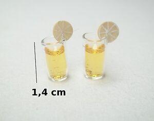 lot de 2 verres de citronnade,miniatures maison de poupée,vitrine,collection CL8