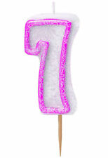 Pink Glitz Number 7 Candle - Cake Party Kids Age Birthday Glitter