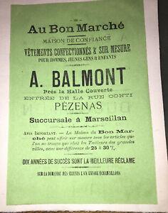 PUBLICITÉ POUR LA MAISON BALMON, PÉZENAS (VÊTEMENTS).VERS 1900