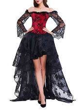 High Low Vintage Womens Gothic Steampunk Ruffled Corset Lace Dress Costume Prom