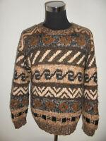 rare vintage Wollpulli crazy pattern Strickpullover hippie oldschool gemustert L
