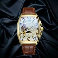 Herren Luxus Self-Wind Mechanische Edelstahl Leder Armbanduhr Neu Casual V6W6