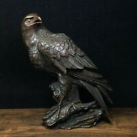 "8.5"" Old Antique Chinese bronze handcarved eagle Incense burner Statue"