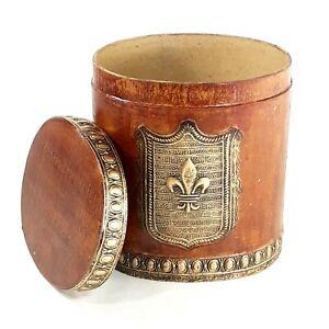 "Flour De Lis Faux Wood Oval Cardboard Trinket Box 6.5"" Table Shelf Home Decor"