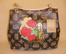 Sharif Brown Print Leather Satchel Purse w/ Rose & Leopard Accent - Never Worn