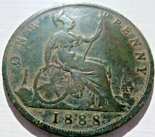 QUEEN VICTORIA  *1888*  PENNY 1d COIN BUN YOUNG HEAD IN FINE GRADE (DC64)