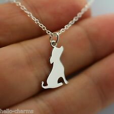 DOG CHARM NECKLACE- 925 Sterling Silver Dog Silhouette Puppy Charm Pet Adopt NEW