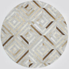 Contemporary Patchwork Leather Rug Modern Handcrafted Floor Covering Home Decor