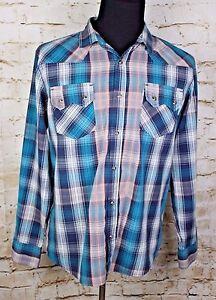 Levi's Men's Large Plaid Pearl Snap L/S Cotton Blend Standard Fit Western Shirt