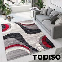 Teppich Kurzflor Grau Creme Modern Wellen Streifen Meliert Designer Wohnzimmer