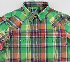 Men's POLO RALPH LAUREN Green Colors Plaid Western Shirt Medium M NWT NEW