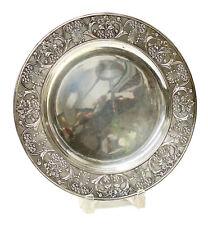 Buccellati Italian 800 Silver Round Tray, Repousse Floral Rim. Mid Century