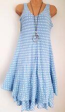 New Italian Lagenlook Light Blue Spotty Cotton Summer Dress Size fit 12 14 16 18