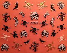 Nail Art 3D Decal Stickers Halloween Skull Skeleton Bat Bones Witch JH086