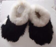 PERUVIAN ALPACA FUR SLIPPERS * SNOWY WHITE & JET BLACK  * 7/40*