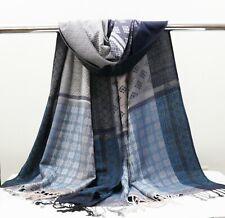Blue & White Modern Pashmina Scarf Women Winter Fall Long Wrap Shawl Hijab Rave