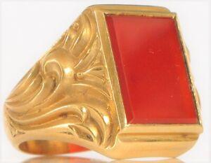 ANTIQUE ART DECO NYC DESIGNER MEN'S 14K YELLOW GOLD RED CARNELIAN GENTLEMAN RING
