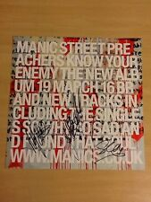 """MANIC STREET PREACHERS-SIGNED KNOW YOUR ENEMY-12""""X12"""" PROMO ONLY FLAT CARD-MINT"""