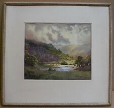 River Wharfe near Kilnsey. Watercolour by listed artist Jack Prior, circa 1960