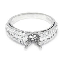 Wide Diamond Engagement Ring Semi-Mount 14K White Gold FITS 1CT
