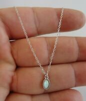 OVAL OPAL NECKLACE PENDANT W/ OPAL GEMSTONE / 925 STERLING SILVER / 18''