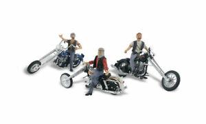 NEW Woodland HO Figure Built & Ready / Bad Boy Bikers Vehicle AS5554