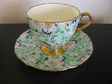 Shelley China Green Daisy Chintz Cup and Saucer