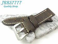 26mm Watch Strap Genuine Leather Dark Brown Vintage Classic Brushed Buckle New