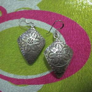 925 Hill Tribe Real Fine Sterling Silver Earrings Fancy Ethnic auc426
