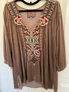Johnny Was Caramel Silk Rayon Velvet Embroidered Tunic LARGE long sleeves