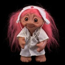 "Vintage Nurse Kristin DAM Norfin Troll Doll 9"" Pink Wool Hair 6057"