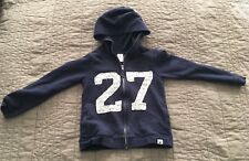 """Carters 5 Navy Blue Zipfront Hoodie w/White Lace """"27"""" on the Front"""