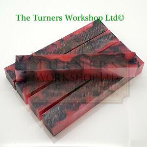 WOOD-TURNING - 5 x Acrylic Pen Blanks Rhubarb