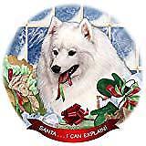 Japanese Spitz Dog Porcelain Ornament Pet Gift 'Santa. I Can Explain!'