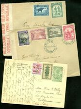 EDW1949SELL : BELGIAN CONGO 2 Censored covers & 1 Uprated Post Cards all to USA.