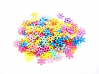 200 Pcs - 10mm Pastel Mixed Colour Opaque Acrylic Snow Flake Spacer Beads A155