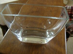 Chunky glass oblong square ish clear vase