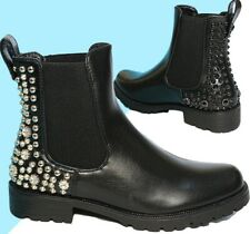 WOMENS LADIES CHELSEA  ANKLE BOOTS STUDDED CHUNKY FLAT  LOW HEEL SHOES SIZE 3-8
