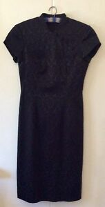HARRY WHO Vintage Black Brocade Chong San Dress Made in Australia Size S 8