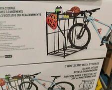 Birdrock Home 3 Bike Stand Rack with Storage Metal Floor Bicycle