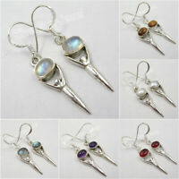925 Solid Silver Real Gemstone GODDESS Earrings ! Online Bijoux Jewelry Store