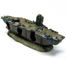 New listing Aquarium Fish Decoration Aircraft Carrier Cave -Navy Small Warship Tropical Tank